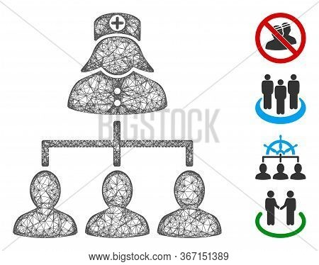 Mesh Patients Nurse Hierarchy Web Icon Vector Illustration. Abstraction Is Based On Patients Nurse H