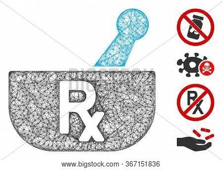 Mesh Pharmacy Mortar Web Icon Vector Illustration. Model Is Based On Pharmacy Mortar Flat Icon. Netw