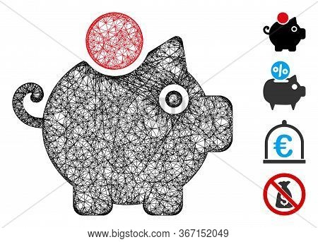 Mesh Piggy Bank Web 2d Vector Illustration. Carcass Model Is Based On Piggy Bank Flat Icon. Network
