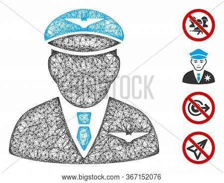 Mesh Pilot Web 2d Vector Illustration. Carcass Model Is Based On Pilot Flat Icon. Mesh Forms Abstrac