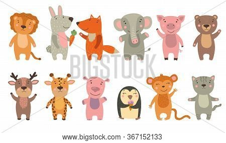 Happy Funny Cartoon Animals Set. Cute Lion, Elephant, Baby Penguin, Monkey, Hippo, Fox, Pig, Bear Wa