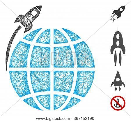 Mesh Planet Satellite Launch Web Icon Vector Illustration. Carcass Model Is Based On Planet Satellit