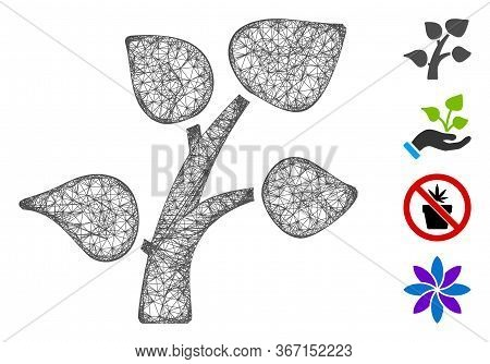 Mesh Plant Sprout Web 2d Vector Illustration. Abstraction Is Based On Plant Sprout Flat Icon. Mesh F