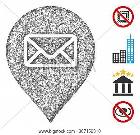 Mesh Post Office Marker Web Symbol Vector Illustration. Abstraction Is Based On Post Office Marker F