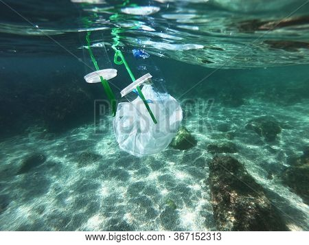 Plastic Bags And Bottles Pollution In Ocean