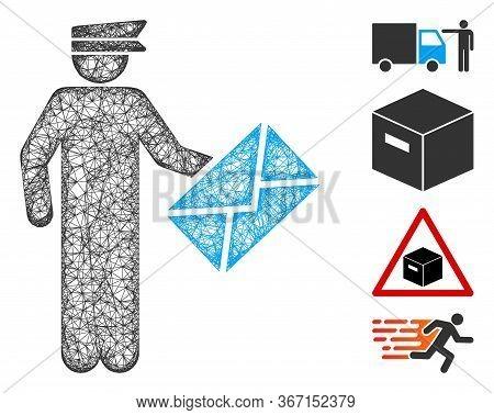 Mesh Postman Web Symbol Vector Illustration. Model Is Based On Postman Flat Icon. Network Forms Abst
