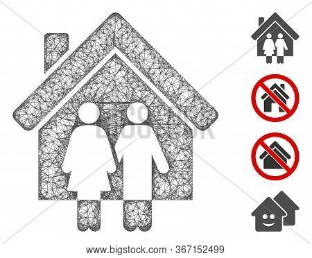 Mesh Property Web Icon Vector Illustration. Abstraction Is Based On Property Flat Icon. Mesh Forms A