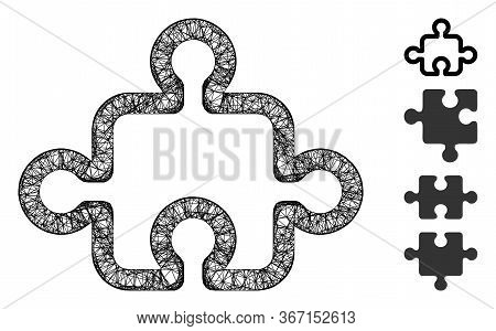 Mesh Puzzle Web Icon Vector Illustration. Carcass Model Is Created From Puzzle Flat Icon. Mesh Forms