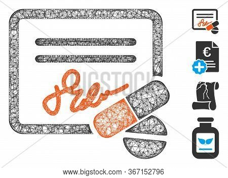 Mesh Receipt Web 2d Vector Illustration. Model Is Based On Receipt Flat Icon. Network Forms Abstract
