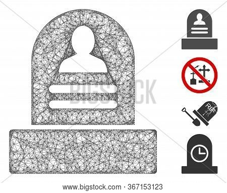 Mesh Rip Monument Web 2d Vector Illustration. Carcass Model Is Based On Rip Monument Flat Icon. Netw