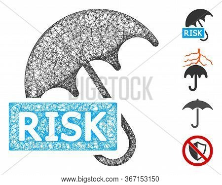 Mesh Safety Umbrella Web 2d Vector Illustration. Carcass Model Is Based On Safety Umbrella Flat Icon