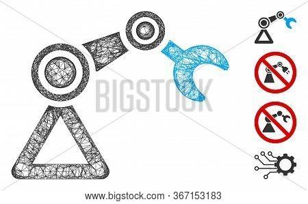 Mesh Robotics Manipulator Web Icon Vector Illustration. Abstraction Is Based On Robotics Manipulator