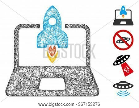Mesh Rocket Startup Notebook Web Icon Vector Illustration. Carcass Model Is Based On Rocket Startup