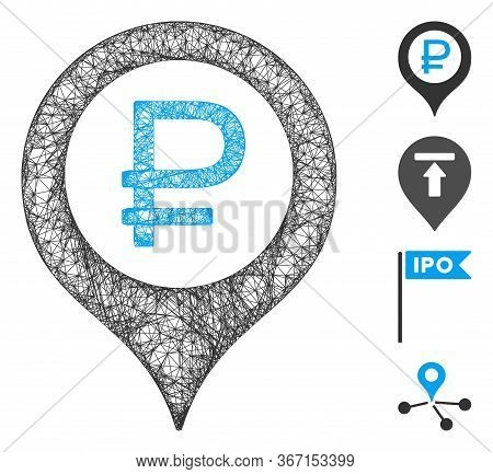 Mesh Rouble Bank Marker Web Icon Vector Illustration. Abstraction Is Based On Rouble Bank Marker Fla