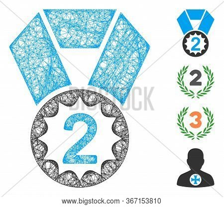 Mesh Second Place Web 2d Vector Illustration. Model Is Based On Second Place Flat Icon. Network Form