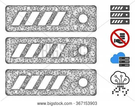 Mesh Server Web Symbol Vector Illustration. Model Is Based On Server Flat Icon. Mesh Forms Abstract