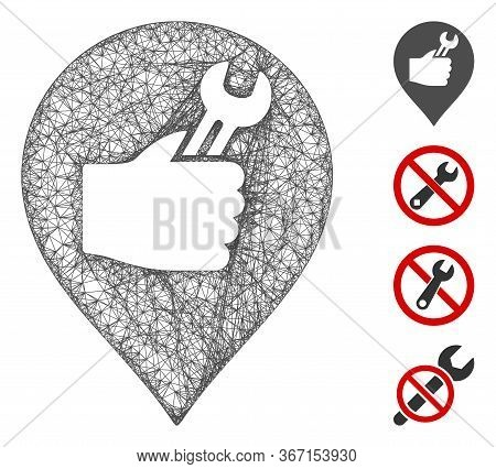 Mesh Service Hand Marker Web Icon Vector Illustration. Carcass Model Is Created From Service Hand Ma