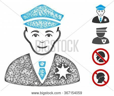 Mesh Sheriff Web 2d Vector Illustration. Model Is Based On Sheriff Flat Icon. Network Forms Abstract