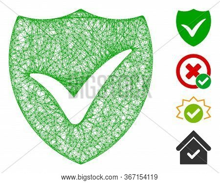 Mesh Shield Valid Web 2d Vector Illustration. Model Is Based On Shield Valid Flat Icon. Mesh Forms A