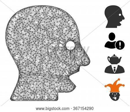 Mesh Shouting Head Web Icon Vector Illustration. Model Is Based On Shouting Head Flat Icon. Mesh For
