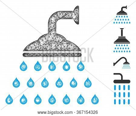 Mesh Shower Web 2d Vector Illustration. Carcass Model Is Based On Shower Flat Icon. Mesh Forms Abstr