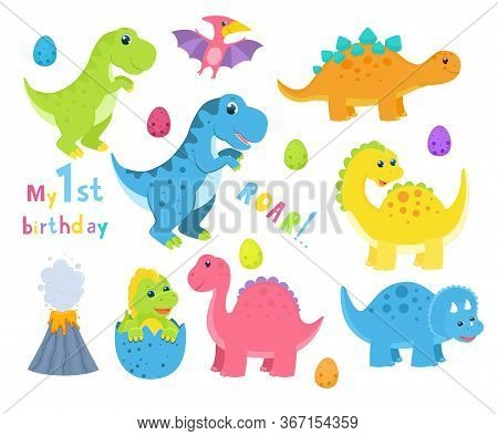 Set Of Cute Childish Dinosaurs. Vector Illustration. Isolated On White Background. Cartoon Style