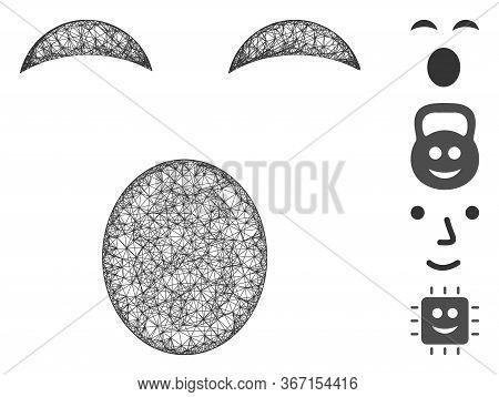 Mesh Sleepy Smiley Web 2d Vector Illustration. Model Is Based On Sleepy Smiley Flat Icon. Mesh Forms