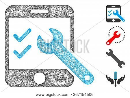 Mesh Smartphone Options Web 2d Vector Illustration. Model Is Created From Smartphone Options Flat Ic