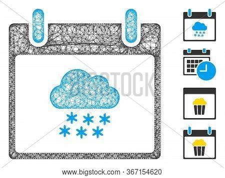 Mesh Snow Cloud Calendar Day Web 2d Vector Illustration. Carcass Model Is Based On Snow Cloud Calend