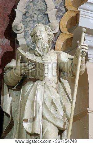 ZAGREB, CROATIA - NOVEMBER 12, 2012: Saint Joachim statue on the main altar in the Franciscan church of St. Francis Xavier in Zagreb, Croatia
