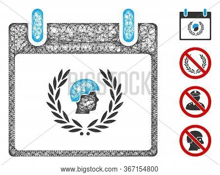 Mesh Soldier Laurel Wreath Calendar Day Web 2d Vector Illustration. Carcass Model Is Based On Soldie
