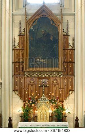 ZAGREB, CROATIA - NOVEMBER 26, 2014: Saint Francis of Assisi altar in the  Franciscan Church of St. Francis of Assisi in Zagreb, Croatia