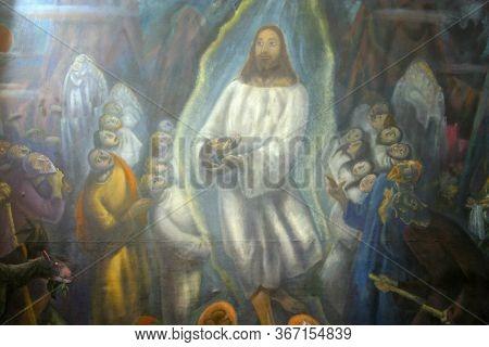 ZAGREB, CROATIA - NOVEMBER 12, 2012: Sermon on the Mount, altarpiece in the Franciscan church of St. Francis Xavier in Zagreb, Croatia