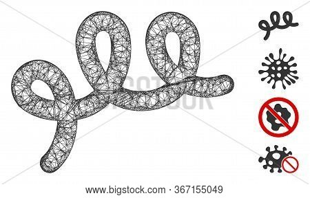Mesh Spiral Bacillus Web Icon Vector Illustration. Carcass Model Is Created From Spiral Bacillus Fla