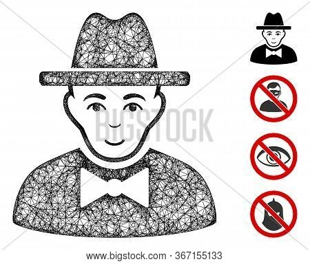 Mesh Spy Web 2d Vector Illustration. Carcass Model Is Based On Spy Flat Icon. Mesh Forms Abstract Sp