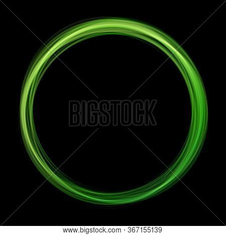 Green Abstract Neon Round Shape On Black Background. Glowing Futuristic Bright Green Frame. Simple E