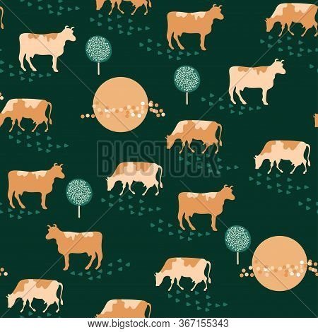 Eamless Pattern. Herd Of Cows And Trees. Green Background.