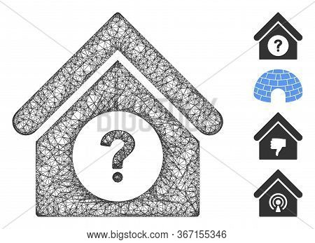 Mesh Status Building Web Icon Vector Illustration. Model Is Based On Status Building Flat Icon. Netw
