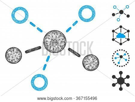 Mesh Structure Web Icon Vector Illustration. Carcass Model Is Based On Structure Flat Icon. Network