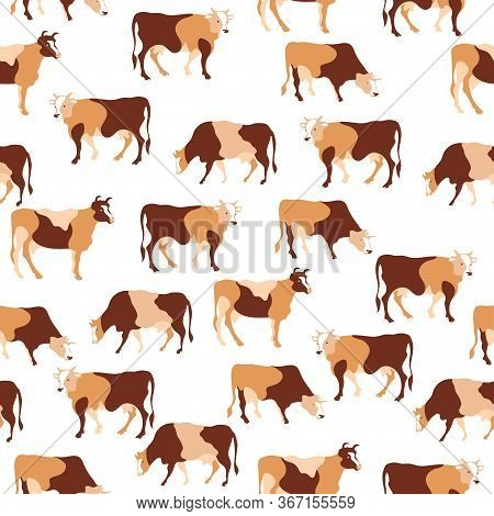 Seamless Pattern. Herd Of Cows. Cow Silhouette Made Of Multi-colored Segments.