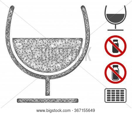 Mesh Syrup Glass Web 2d Vector Illustration. Carcass Model Is Based On Syrup Glass Flat Icon. Networ