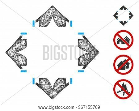 Mesh Tent Camp Web Icon Vector Illustration. Model Is Based On Tent Camp Flat Icon. Network Forms Ab