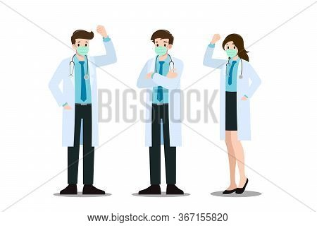 A Set Of Man And Woman Cheerful Poses Doctor Who Wear Mask & Lab Coat, Holding A Clipboard And Talk