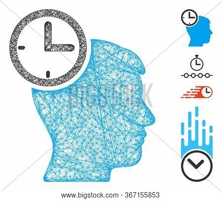 Mesh Time Management Head Web Symbol Vector Illustration. Model Is Based On Time Management Head Fla