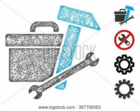 Mesh Toolbox Web Icon Vector Illustration. Carcass Model Is Based On Toolbox Flat Icon. Mesh Forms A