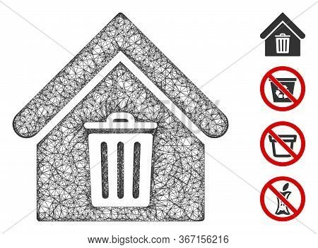 Mesh Trash House Web Symbol Vector Illustration. Carcass Model Is Based On Trash House Flat Icon. Me
