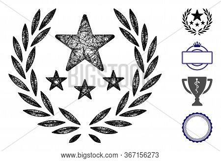 Mesh Triumph Emblem Web 2d Vector Illustration. Carcass Model Is Based On Triumph Emblem Flat Icon.