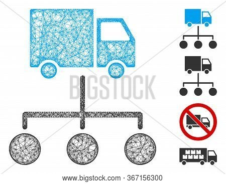 Mesh Truck Distribution Links Web Icon Vector Illustration. Carcass Model Is Created From Truck Dist
