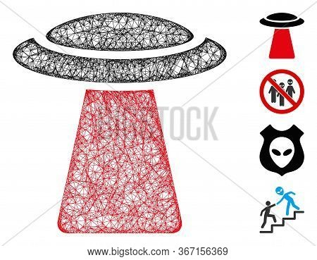Mesh Ufo Ray Web Icon Vector Illustration. Carcass Model Is Based On Ufo Ray Flat Icon. Network Form