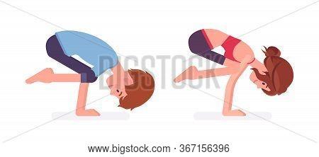 Young Yogi Man And Woman In Sports Wear Practicing Yoga, Partners Doing Crane Pose, Bakasana Exercis